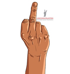 Middle finger hand sign african ethnicity detailed vector