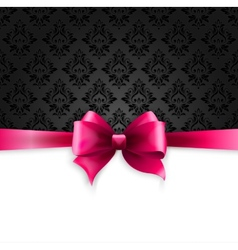 Invitation card with pink holiday ribbon on vector
