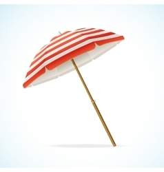 Beach umbrella red and white vector
