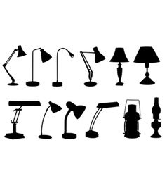 Desk lamps collage vector