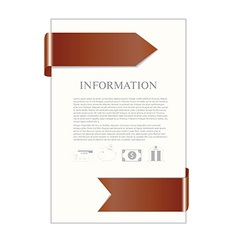 Paper sheet with brown ribbon and banking icons vector