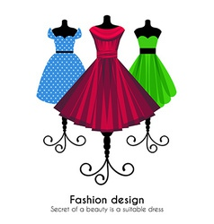 Colorful dresses on the mannequins background vector