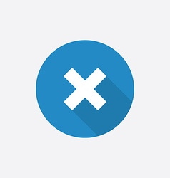 Close flat blue simple icon with long shadow vector