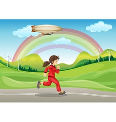 A girl in red jogging vector