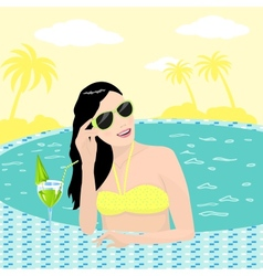 Girl in pool vector