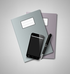 Notebooks with pen and smart phone background vector