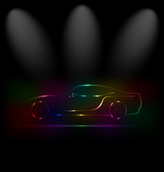 Silhouette of colorful car in darkness vector