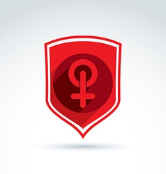 Shield with a red female sign woman gender symbol vector