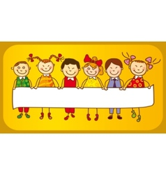 Six kids with sign vector