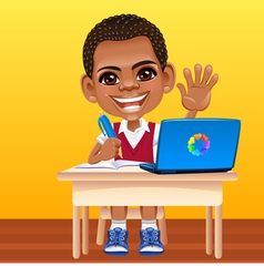 Happy smiling african schoolboy vector