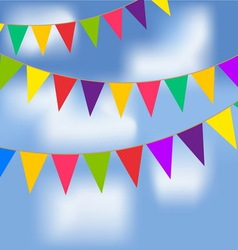Party flags with blue sky and white clouds vector