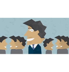 Smiling businessman with colleagues vector