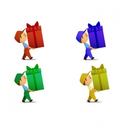 Delivery boy with gift box vector