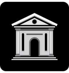 Building with columns on a black background archit vector