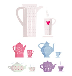 Cup and kettle vector