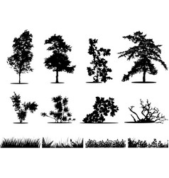 Trees bushes and grass silhouettes vector