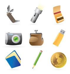 Icons for personal belongings vector
