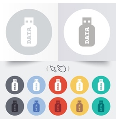 Usb stick sign icon usb flash drive button vector