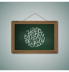 Green chalkboard mockup template with lettering vector