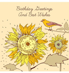 Sunflower bird birthday card vector