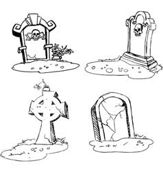 Scary tombstones in halloween night vector
