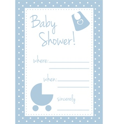 Baby shower blue card or invitation vector