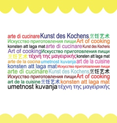 Art of cooking in various language vector