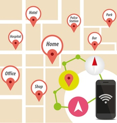 Navigator smart phone with icon on map vector
