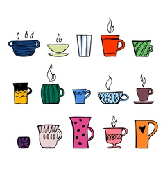 Color cups of tea or coffee vector