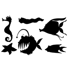Sea creatures in its silhouette forms vector