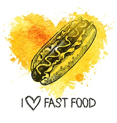 Fast food background with splash watercolor heart vector