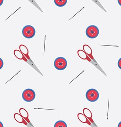Seamless pattern with scissors needle and button vector