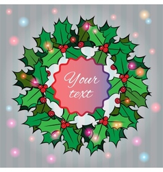 Christmas background with holly berry wreath vector