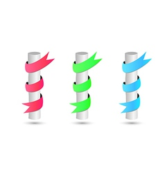 Three steel rods wrapped by color ribbon vector