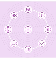 Outline icon set with lock eye play icons vector