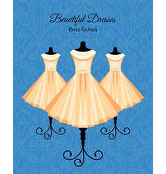 Dresses on the mannequins background vector