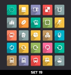 Trendy icons with long shadow set 19 vector