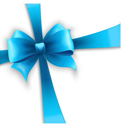 Invitation card with blue holiday ribbon and bow vector