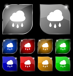 Weather rain icon sign set of ten colorful buttons vector