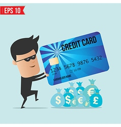 A thief with a credit card vector