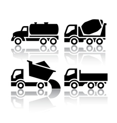 Set of transport icons - tipper and concrete mixer vector