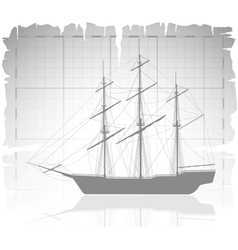 Old ship over ancient map with grid vector
