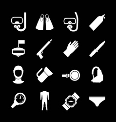 Set icons of diving vector