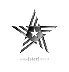 Metal star design element on white background vector