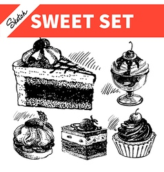 Sketch sweet set vector
