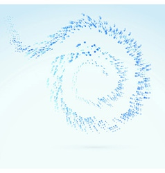 Blue fresh particle spiral swoosh line vector