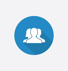 Team flat blue simple icon with long shadow vector