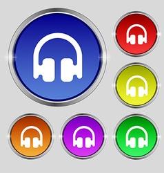 Headphones earphones icon sign round symbol on vector