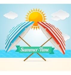 Beach umbrella summer card vector