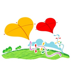 Heart shape kites vector